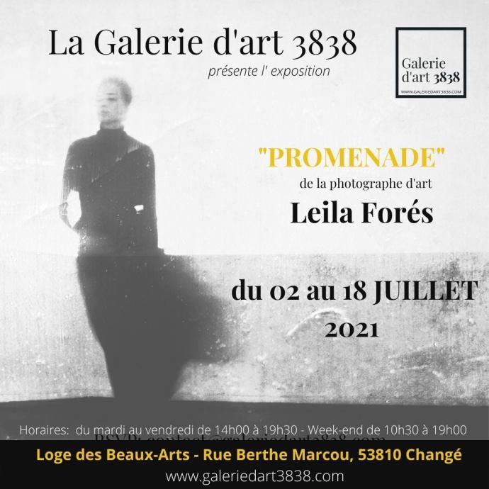 """Affiche Galerie d'art 3838 vous présente l'exposition de photo """"promenade"""" de Leila Forés"""